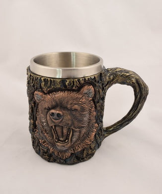 Grizzly Bear Carved Mug