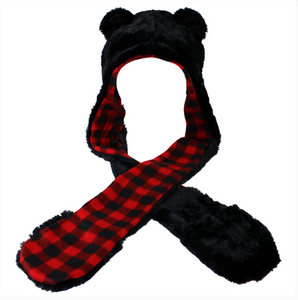 Fuzzy Black Bear Hat with Attached Mittens