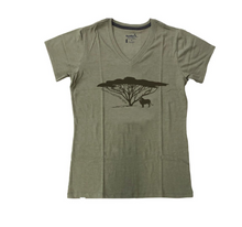 Load image into Gallery viewer, Lion Under an Acacia Tree Ladies Recycled Fabric T-shirt