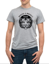 Load image into Gallery viewer, LAST CHANCE!! Rescue & Protect Flocked Tiger Recycled Adult T-shirt