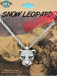 Silver Leopard Face Necklace