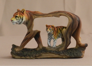 "Painted 4"" Painted Faux Wood Tiger Statue"