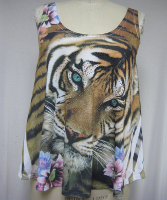 Tiger with Flowers Ladies Rayon Tank Top