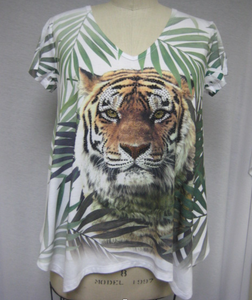 Tiger with Fern Ladies Rayon Tee