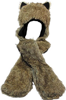 Fuzzy Grizzly Bear Hat with Attached Mittens