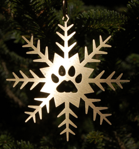 Copper Snowflake with Pawprint Hanging Decoration