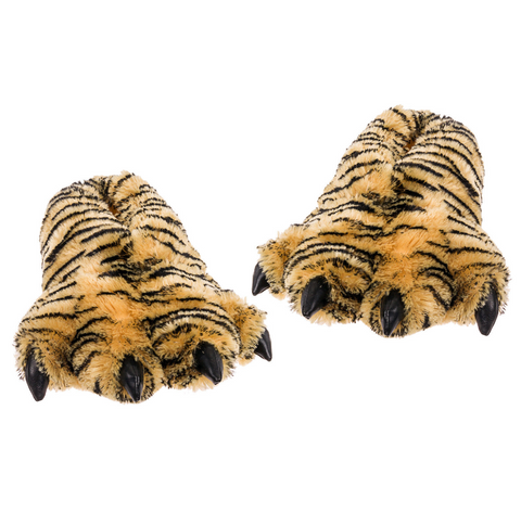 Fuzzy Tiger Feet Slippers