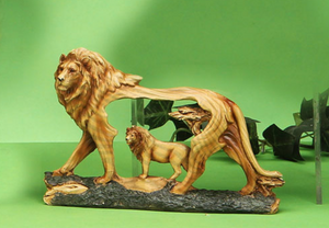 Woodlike lion carving