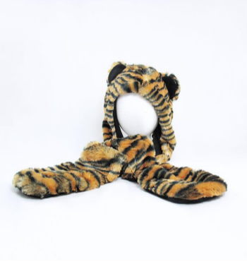 Fuzzy Tiger Hat with Attached Mittens