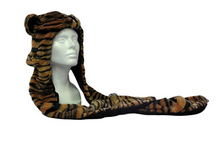 Load image into Gallery viewer, Tiger Fuzzy Hat with Attached Mittens