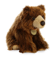 "Load image into Gallery viewer, 9"" Sitting Grizzly Bear Plush"