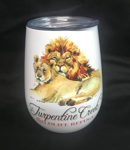 Lion Couple Stemless Wine Glass