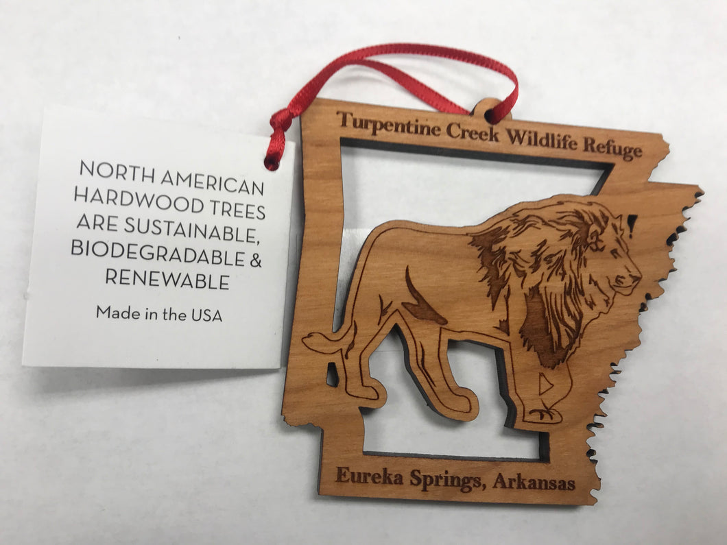 Wooden Laser-Cut Lion in Arkansas Ornament