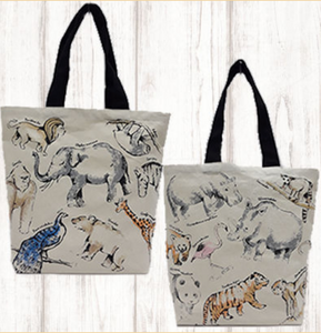 Interpretive Zoo Animal Canvas Tote