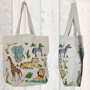 Large Zoo Animal Canvas Tote