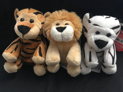 "Set of Three 5"" Plush Big Cats"