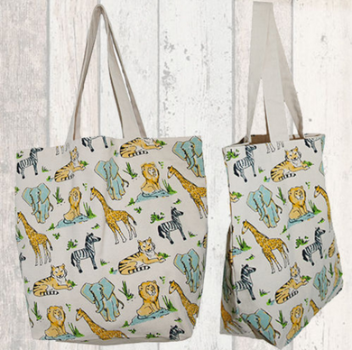 Small Zoo Animal Canvas Tote