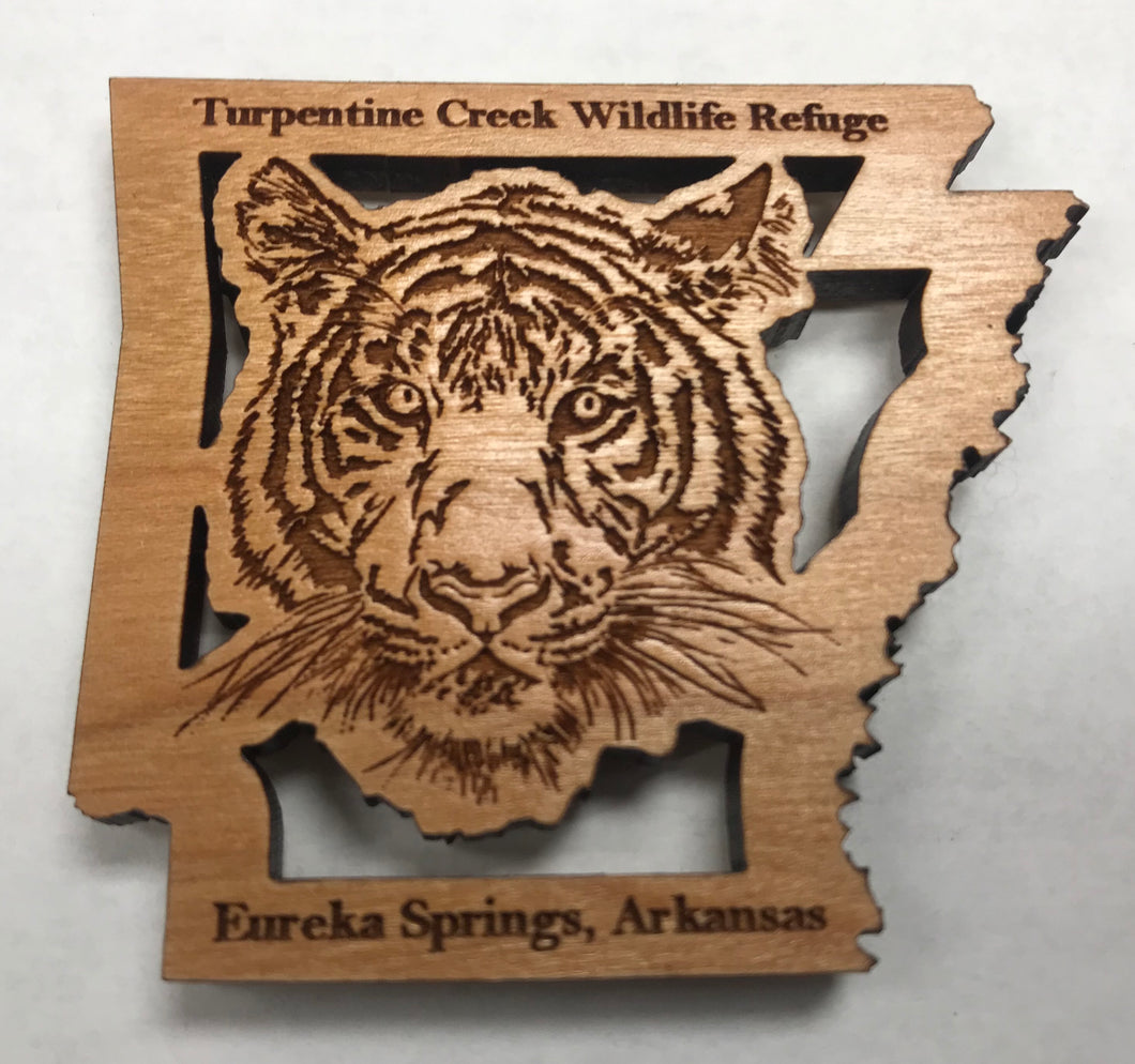 Wooden Laser-Cut Tiger in Arkansas Magnet