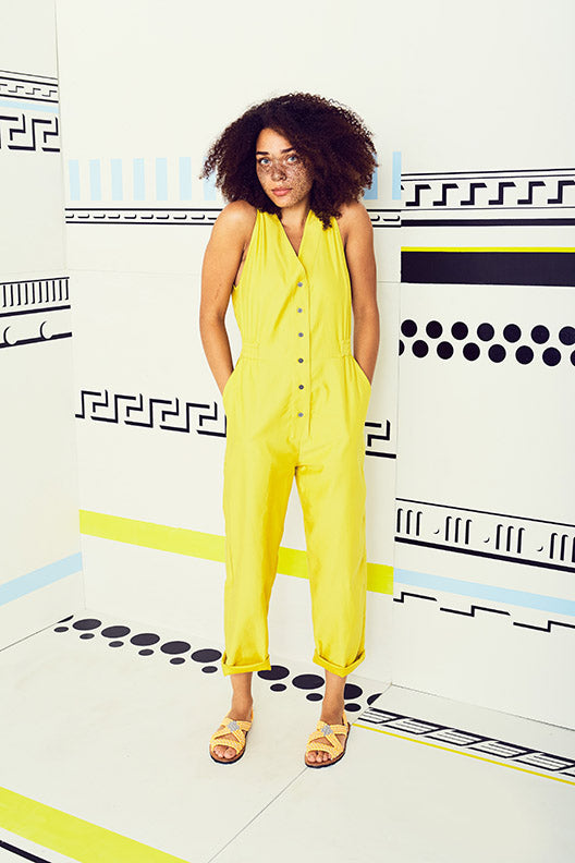 Solid Yellow V Jumpsuit