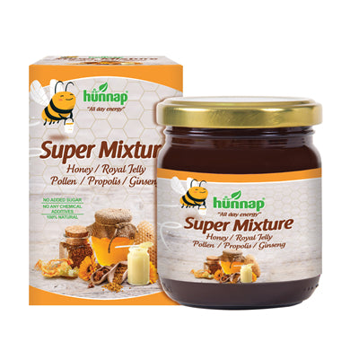 Honey Super Mixture, with Royal Jelly, Propolis, Pollen, Ginseng, 8.1 oz
