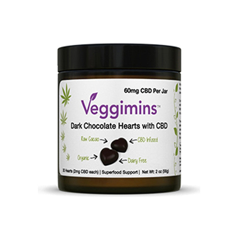 CBD Chocolate Hearts, Veggimins, 2 oz