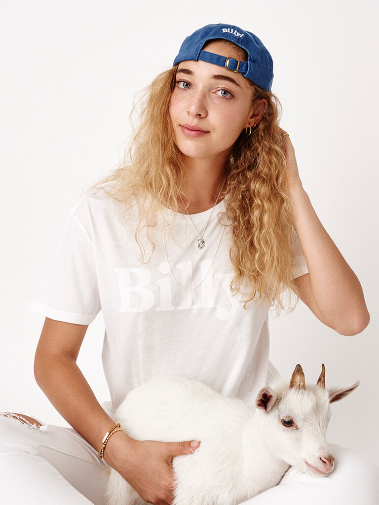 Billy! white t-shirt women's short sleeve tee white on white goat