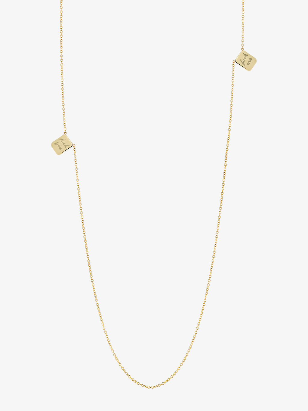 Small F You•F Me Edition Gold Tag Necklace