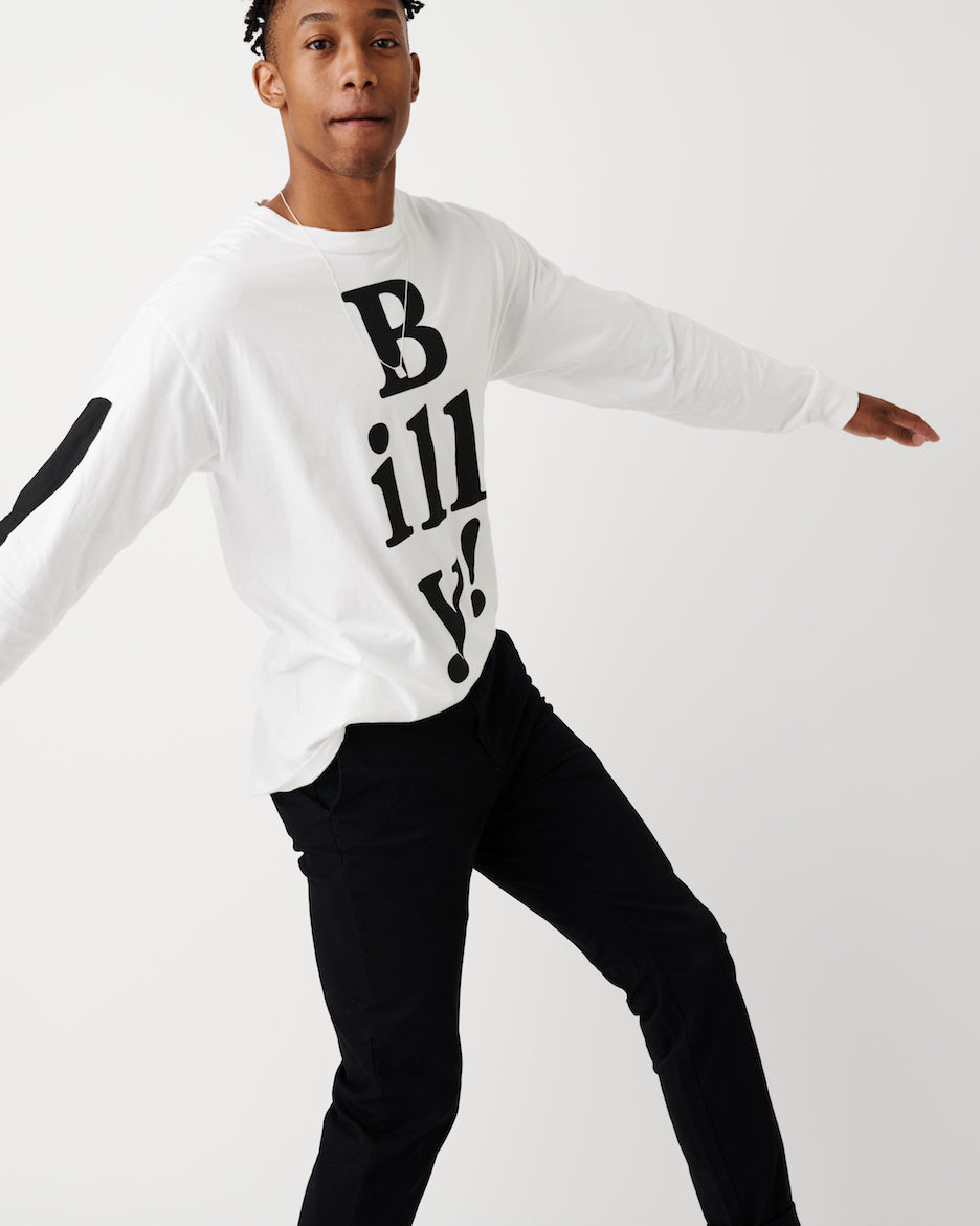 BAD BILLY SALE // White Long Sleeved Tee w/ Black Billy!