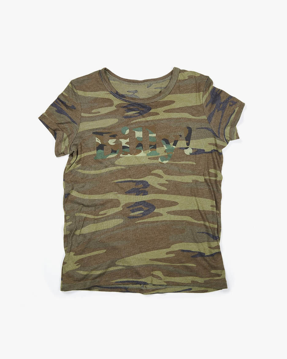 Billy! camouflage camo fitted t-shirt green camo logo candice pool neistat