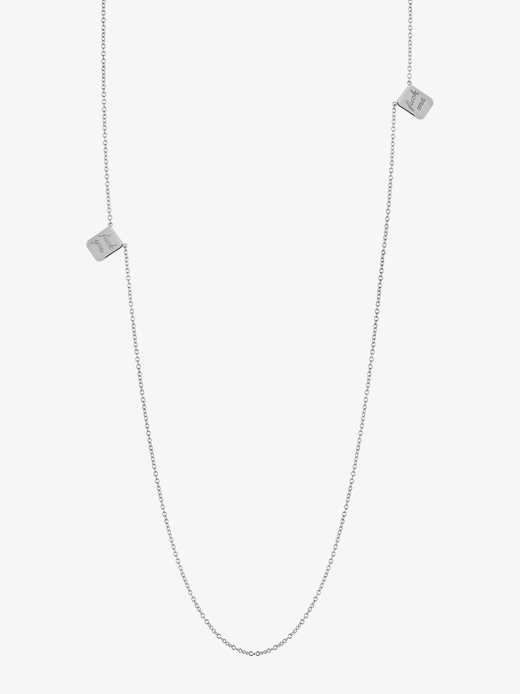 Small F You•F Me Edition Silver Tag Necklace