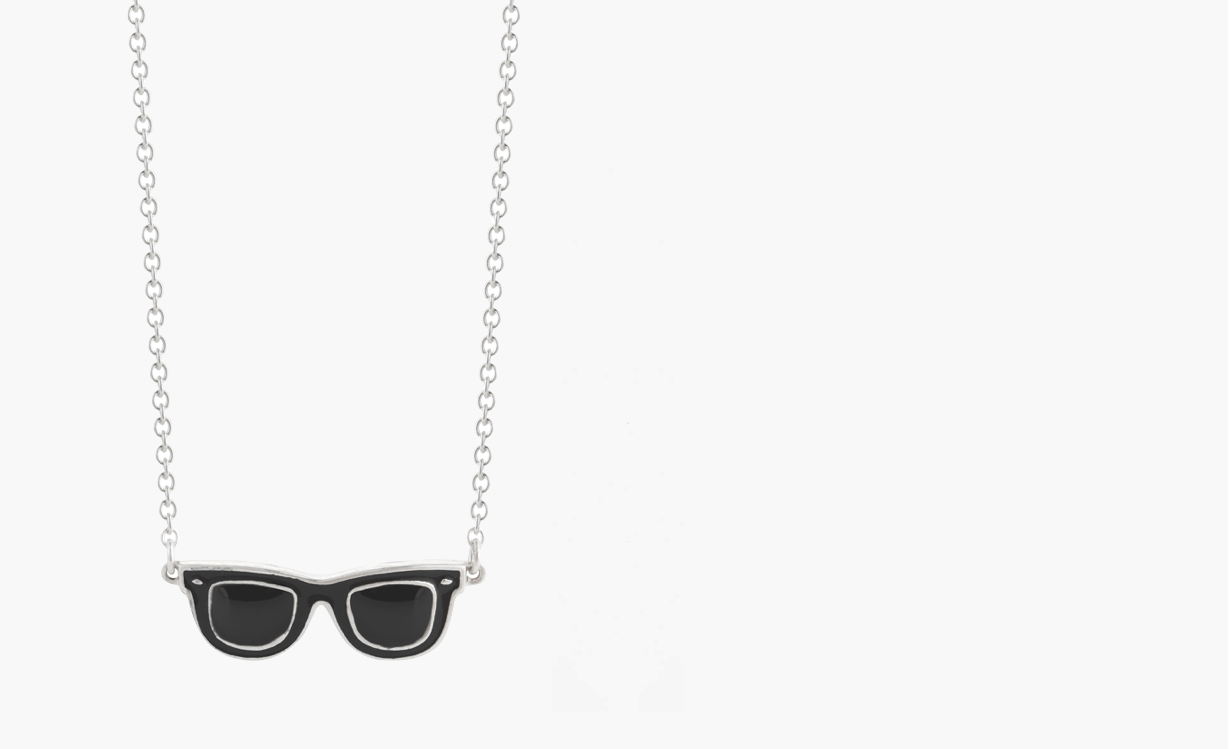 1fd732c1cac07 Sterling silver Billy! sunglass necklace black enamel