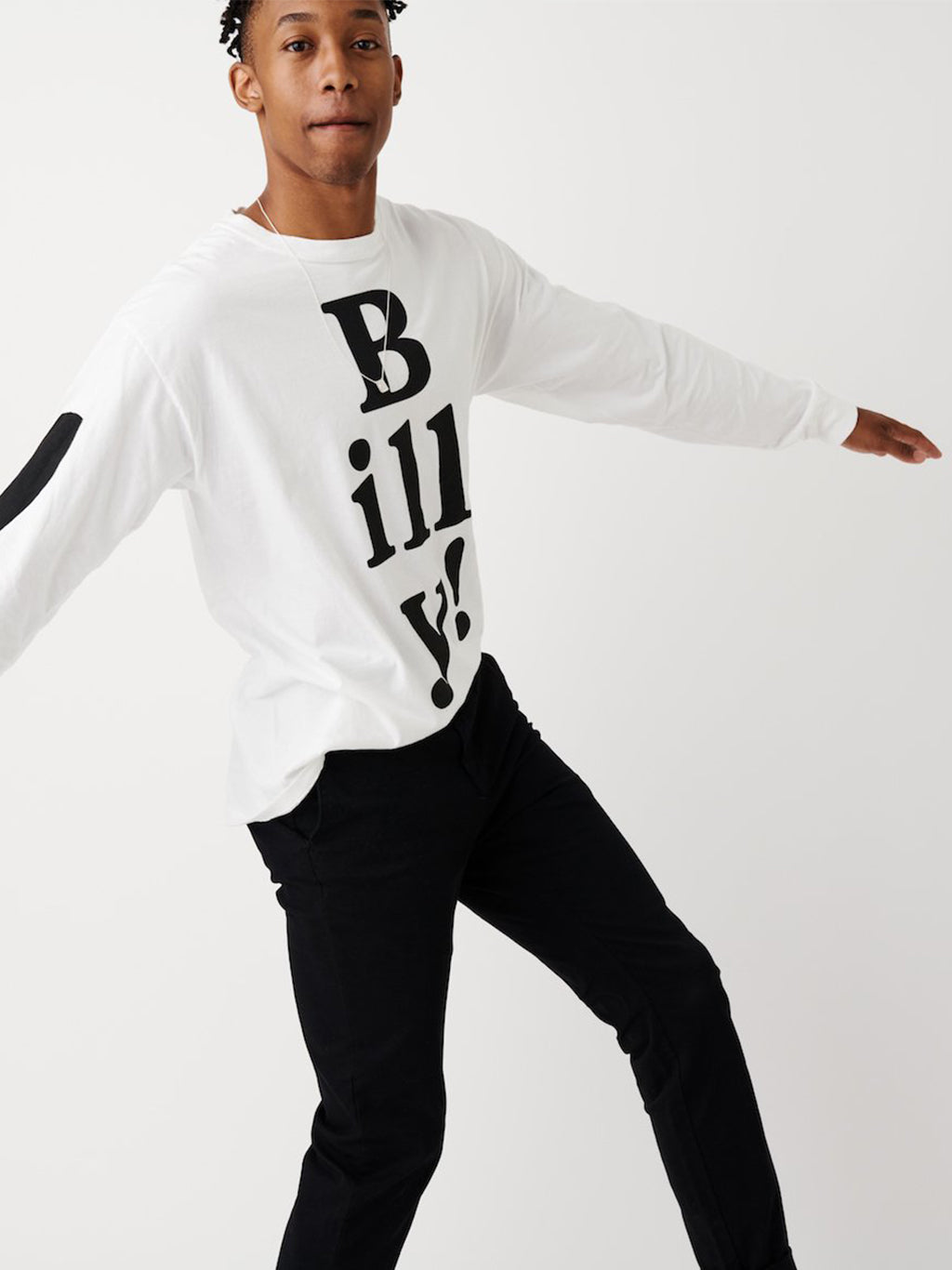 White Long Sleeved Tee with Black Billy! (archived)
