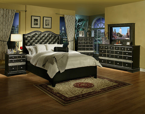 Hollywood Glamour Bedroom set Queen Size bed / Juego de Recámara Hollywood Glamour cama Queen Size