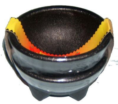 2 Pack Black Plastic Earthenware Salsa Bowls - 10 oz