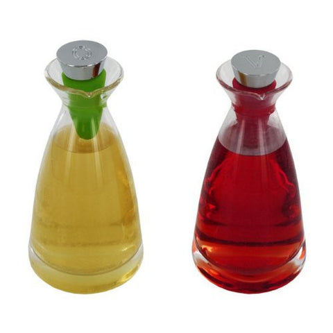 Essentials Hand Blown Glass Oil & Vinegar Set, Stainless Steel / Silicone Stoppers
