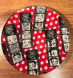 Handmade 8 inch Round Decorative Fabric Backed Betty Boop Glass Plate