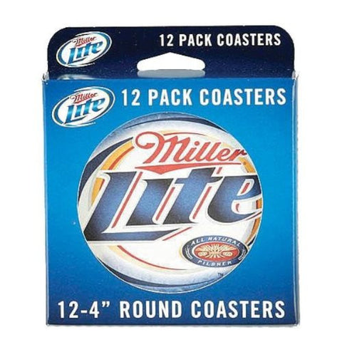 Miller Lite 4 inch Round Pulp Board Coasters - Pack of 12 Coasters