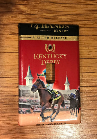 Handmade 14 Hands Kentuck Derby Red Blend Wine Label Single Toggle Light Switch Cover