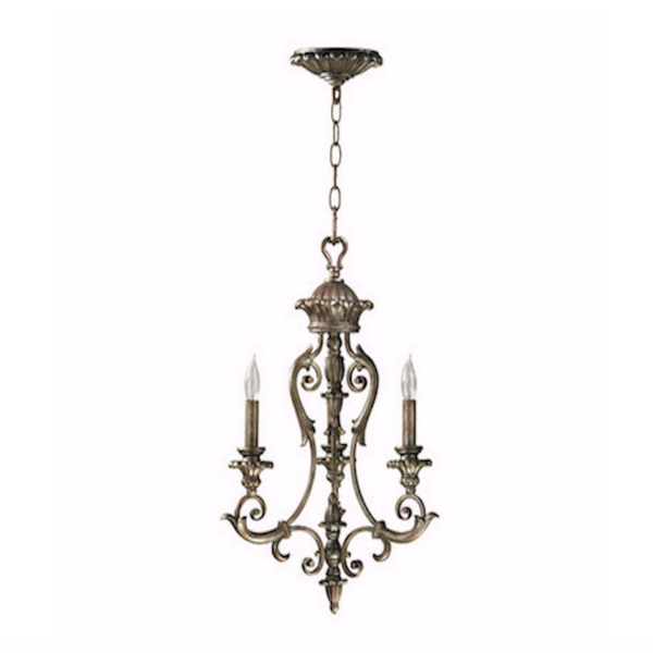 3 Light Chandelier in Mystic Silver
