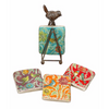 Bird Image Coasters with Metal Stand