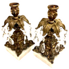 Vintage Dark Bronze Candle Holders