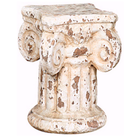 Distressed Cream Column Pedestal Candle Holder