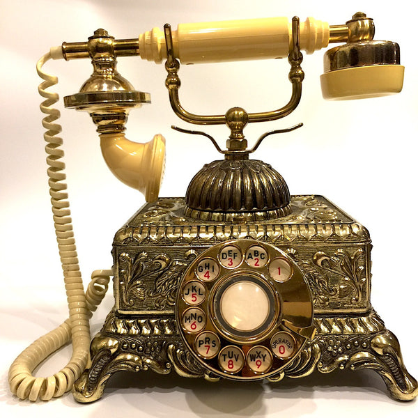 Vintage Ornate Bronze Victorian Rotary Telephone Boogie
