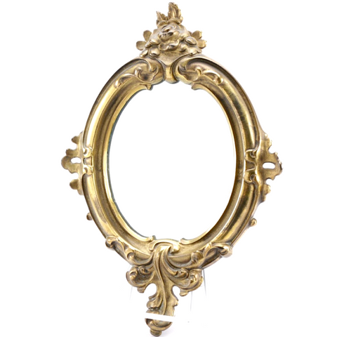 Vintage Rococo Style Brass Framed Wall Mirror