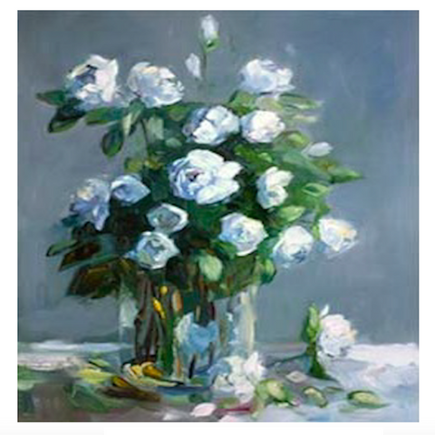 White Roses Brushstroke Canvas Print Art