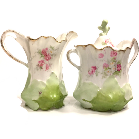Vintage Floral Pattern Porcelain Creamer Pitcher and Lidded Sugar Bowl