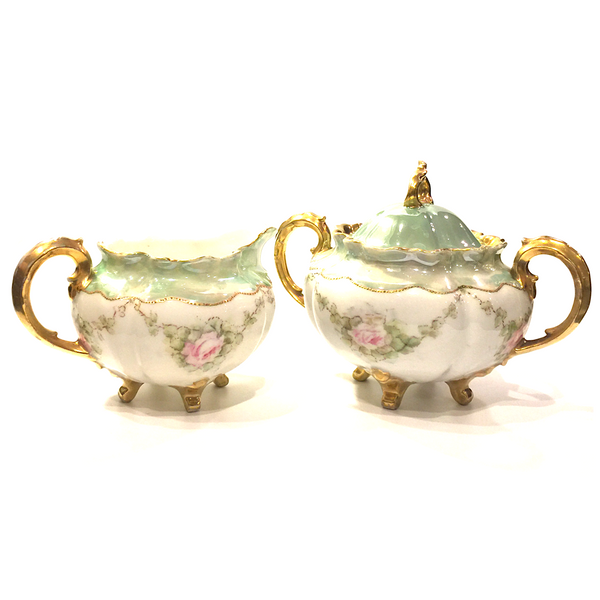 Vintage Elegant Porcelain Creamer Pitcher and Lidded Sugar Bowl