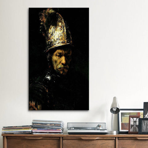 'Man with Helmet' by Rembrandt Canvas Print Art