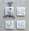Farm Animal Coasters with Metal Stand