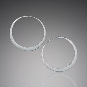 Earrings - Matte Sterling Silver Hoop Earrings
